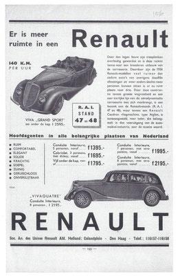 Nederlandse advertentie voor Renault uit 1936.