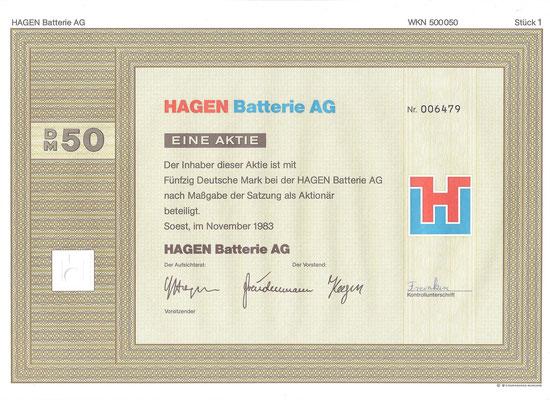 1 Aandeel Hagen Batterie AG uit 1983.