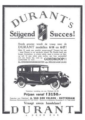 Nederlandse advertentie voor Durant uit 1930.