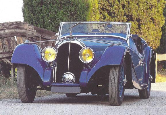 Een Voisin C27 Cabriolet uit 1934 met en carrosserie van Figoni.