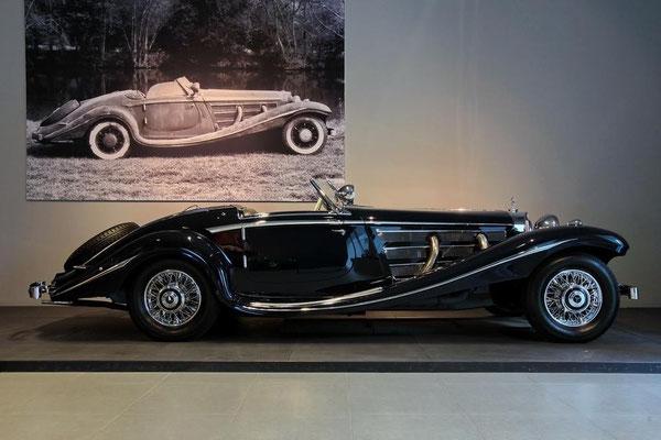 Een Mercedes-Benz 500 K Special Roadster uit 1936, te zien in het Louwman Museum in Den Haag.