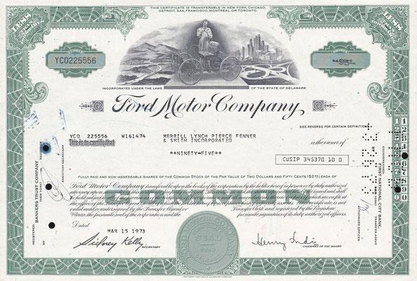 Certificaat voor 95 aandelen Ford Motor Company uit 1973.