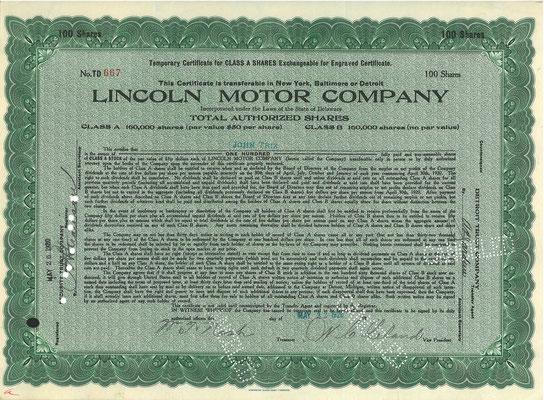 100 Aandelen Lincoln Motor Company uit 1920.
