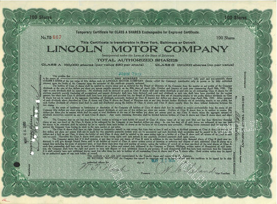 100 Aandelen Lincoln Motor Company met de handtekening van Wilfred C. Leland uit 1920. Twee jaar later kocht Ford Motor Company het bedrijf.