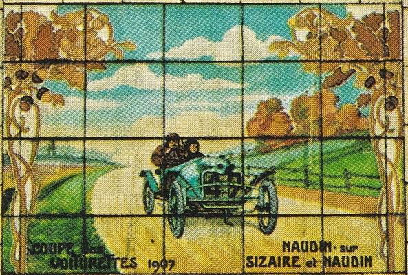Naudin met een Sizaire & Naudin tijdens de Coupe des Voiturettes in 1907.