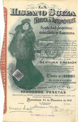 Aandeel (acción) La Hispano Suiza Fabrica de Automóviles S.A. uit 1918, 7e emissie.