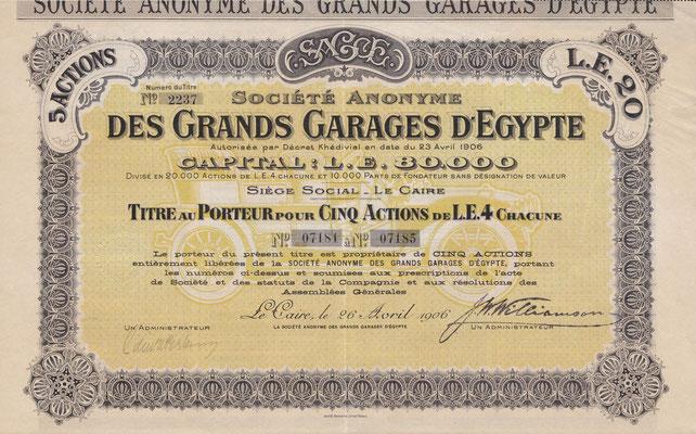 Aandelen S.A. des Grands Garages d'Egypte uit 1906 met een fraaie onderdruk.