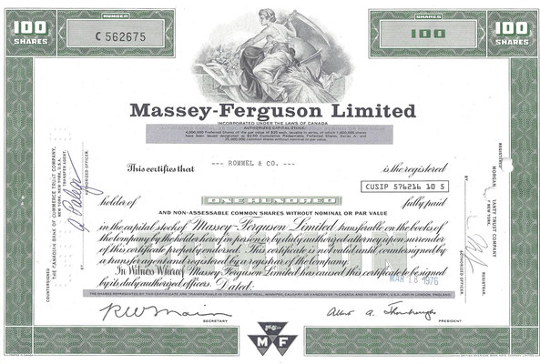 Certificaat voor 100 aandelen Massey-Ferguson Limited uit 1976. Dit stuk (met een ander nummer) is te koop, prijs € 5,00 email: info@automobielhistorie.com