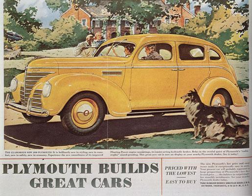 Een advertentie voor Plymouth uit 1939.