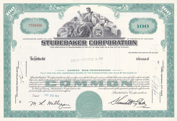 100 Aandelen Studebaker Corporation uit 1963.