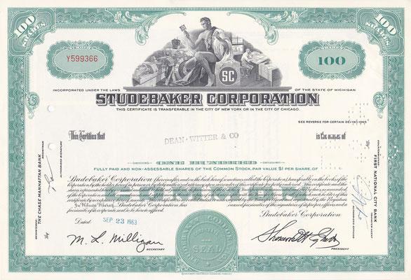 Certificaat voor 100 aandelen Studebaker Corporation uit 1963.