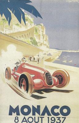 Een lithografie van Geo Ham voor de race van 1937 in Monaco.