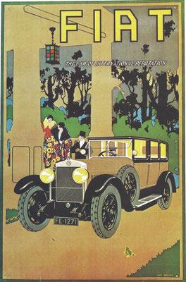 Een affiche uit 1922 van Ray Mount voor Fiat.