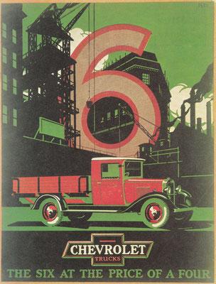 Advertentie Chevrolet uit 1930 voor lichte vrachtwagens met een zescilinder motor.