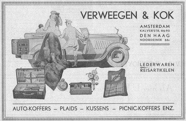 Advertentie voor o.a. picknick koffers uit 1932.