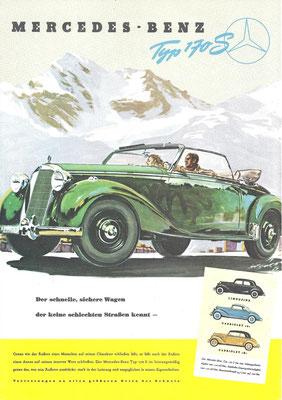 Een advertentie voor de Mercedes-Benz 170 S.