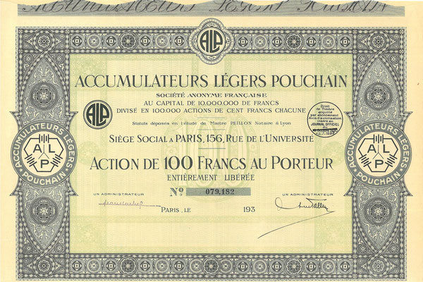 Een aandeel Accumulateurs  Légers Pouchain S.A. Francaise uit de dertiger jaren.