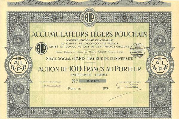Aandeel Accumulateurs  Légers Pouchain S.A. Francaise uit de dertiger jaren.