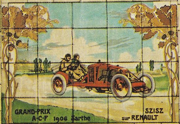 Szisz met een Renault in de Grand Pris A.C.F. op het circuit Sarthe in 1906.