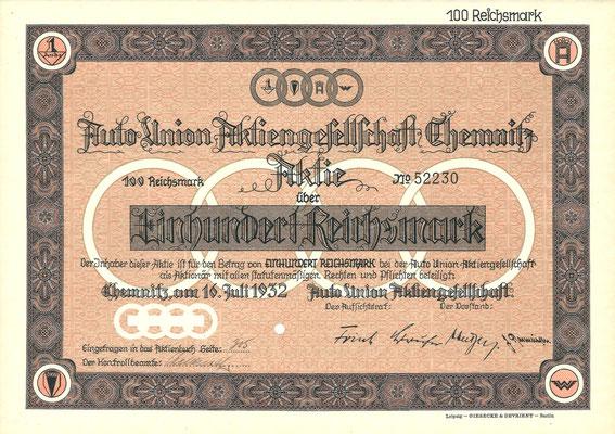 Aandeel (Aktie) 100 RM Auto Union A.G. Chemnitz uit 1932.