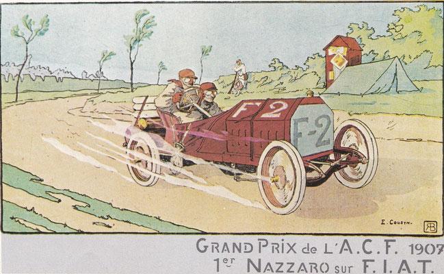 Een postkaart van Fiat uit 1907 ontworpen door E. Cousyn.