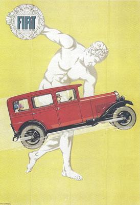 Een affiche uit 1928 van Jack Le Breton voor Fiat.