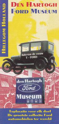Folder Den Hartogh Ford Museum, Hillegom. Ondertussen is het museum gestopt en zijn de auto's geveild.