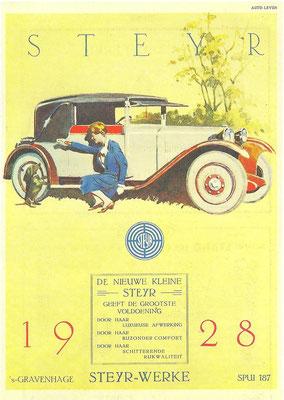 Een advertentie voor Steyr uit 1928.