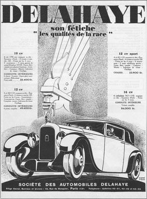 Franse advertentie Delahaye.