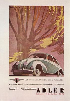 Een advertentie van Adler uit 1939.