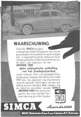 Nederlandse advertentie voor de Simca Aronde 1300 uit 1957.
