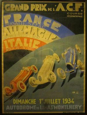 Affiche voor de Franse Grand Prix van 1934 op Montllhéry, ontworpen door Geo Ham