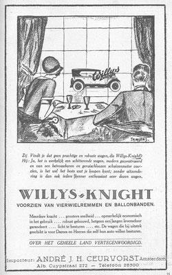 Nederlandse advertentie voor Willys-Knight uit 1926.