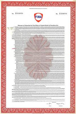 Warrant voor 1 aandeel Petrofina S.A.