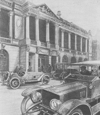 Gerdon Crosby tekende voor the Autocar het prachtige Pall Mall clubhuis van de RAC dat in 1911 voltooid is.