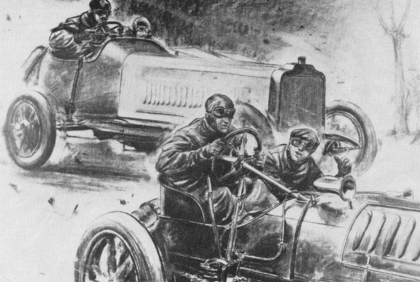 In de Gordon Bennett wedstrijd van 1904 op een circuit in de Taunus nabij Frankfurt was stof de grootste vijand, het belette de coureurs om de bochten tijdig te zien. Carl Jórns met een zware Opel passeert hier de Engelsman Jarrott met een Wolsely.