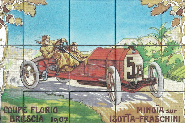 Een tegeltableau van Minoïa met een Isotta-Fraschini in de Coupe Florio Brescia van 1907.