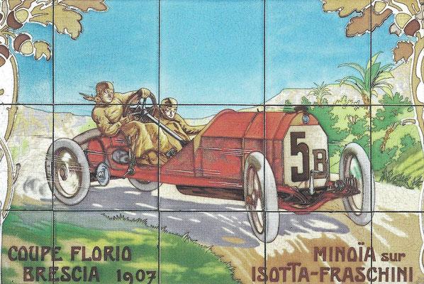 Tegeltableau van Minoïa met een Isotta-Fraschini in de Coupe Florio Brescia van 1907.