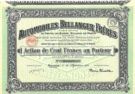 Aandeel Automobiles Bellanger Frères S.A. uit 1920. Dit stuk (met een ander nummer) is te koop, prijs € 10,00 email: info@automobielhistorie.com