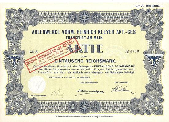 Aandeel (Aktie) 1.000 RM Adlerwerke Vorm. Heinrich Kleyer A.G. uit 1929.