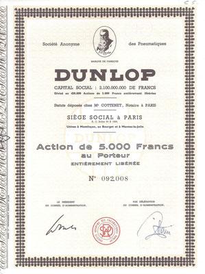 Een aandeel S.A. des Pneumatiques Dunlop.
