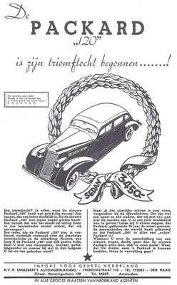 """Een Nederlandse advertentie voor de Packard """"120"""" uit 1935."""