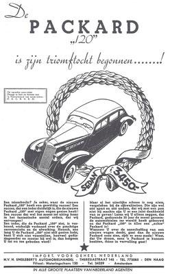 """Nederlandse advertentie voor de Packard """"120"""" uit 1935."""