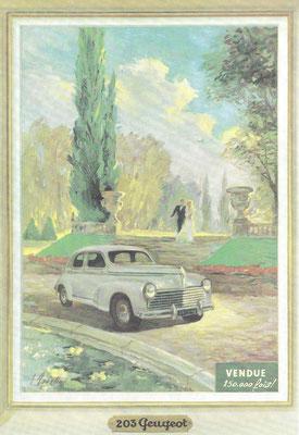 Reclame voor de Peugeot 203.