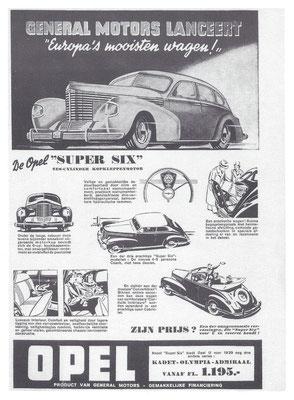 Nederlandse Advertentie voor Opel uit 1939.