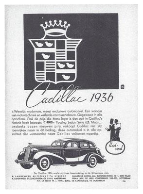Nederlandse advertentie voor Cadillac uit 1937.