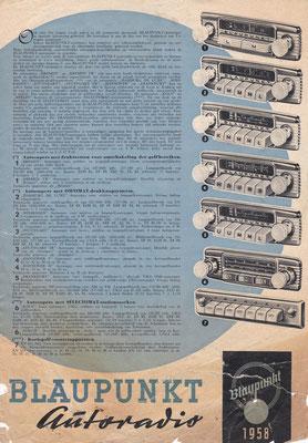 Folder Blaupunkt autoradio's uit 1958.