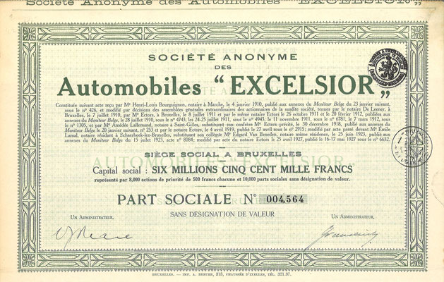 """Een aandeel S.A. des Automobiles """"Excelsior"""" uit 1927."""