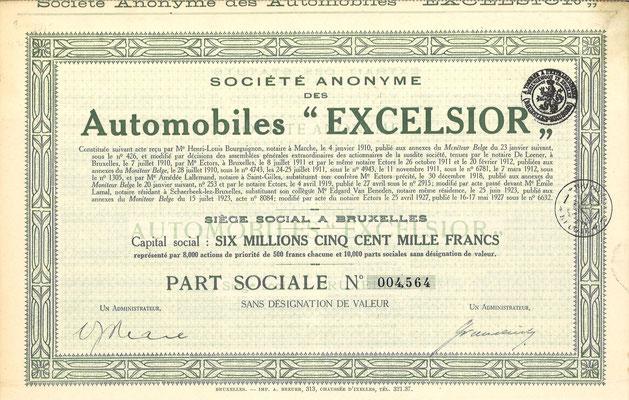 """Aandeel S.A. des Automobiles """"Excelsior"""" uit 1927."""