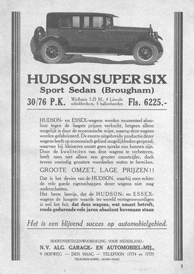 Een advertentie van AGAM voor Hudson uit 1926.